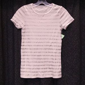 J. Crew Tissue T Silver Striped Short Sleeve Tee